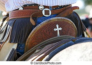 Fancy Cowboy Saddle - cowboy on his horse and saddle