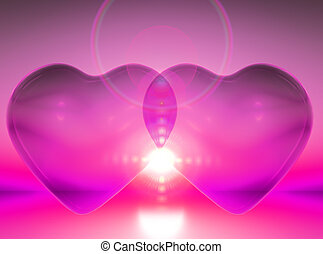 two hearts - union of two hearts in pink colors