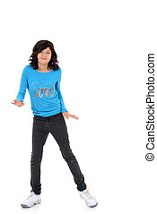 happy female child dancing on white background
