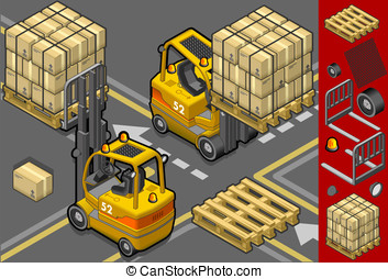 isometric forklift in two different positions - detailed...