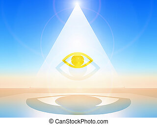 The eye - a golden eye in a white pyramid