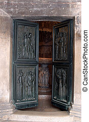 Door, Cathedral in Sibenik - Door of the Cathedral of St...