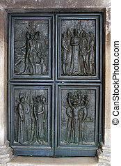 Door, Cathedral in Sibenik - Door of the Cathedral of St....