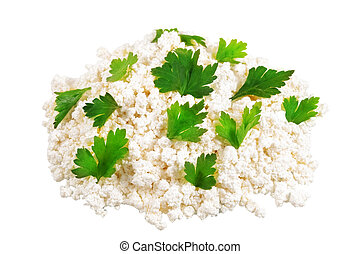 Fresh cottage cheese curd heap with parsley, isolated on...
