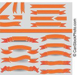 orange ribbons - set of orange ribbons