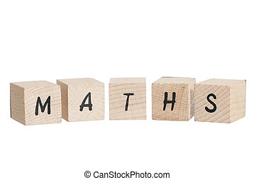 Maths Written With Wooden Blocks - Maths written with wooden...