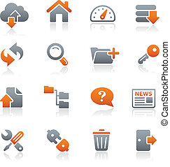 FTP and Hosting Icons Graphite - Vector icons for your web...