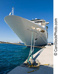 Cruise ship docked in the port The boat is docked in Rhodes...