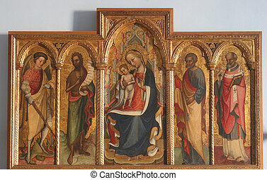 Virgin Mary with baby Jesus - Polyptych, Virgin Mary with...