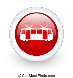 tram red circle glossy web icon on white background