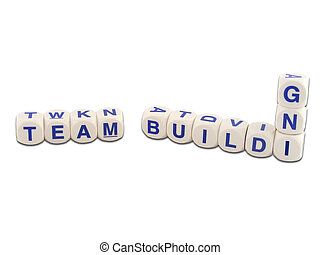 Team Building - Team building in blocks isolated on white