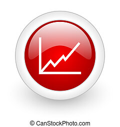 chart red circle glossy web icon on white background
