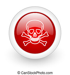 skull red circle glossy web icon on white background