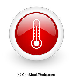 thermometer red circle glossy web icon on white background