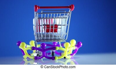 Shopping cart on team work
