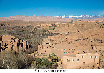 Morocco Kasbah - Morocco typical houses over blue sky and...
