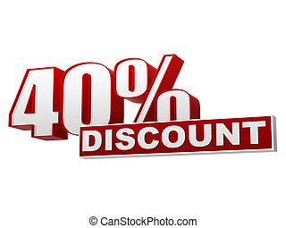 40 percentages discount red white banner - letters and block