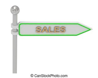 """3d rendering of sign with gold """"SALES"""""""