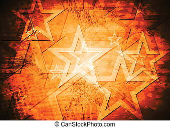 Grunge stars vector background - Bright abstract stars...