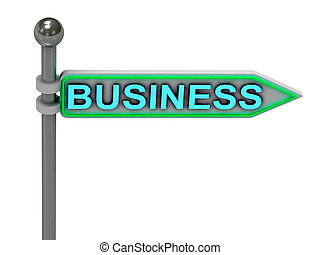"""3d rendering of sign with gold """"BUSINESS"""""""