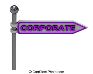 """3d rendering of sign with gold """"CORPORATE"""""""