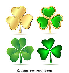 Set of  clovers isolated on white.