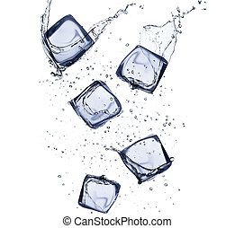 Collection of ice cubes with water splash, isolated on white...