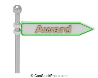 """3d rendering of sign with gold """"Award"""""""