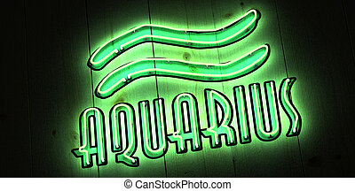 Aquarius Zodiac Sign in Neon
