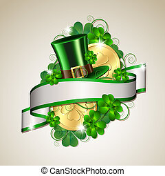 Patrick day card with gold coins and leprechaun hat