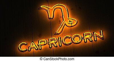 Capricorn Zodiac Sign in Neon