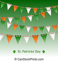 Patrick day card with flag garland. Vector illustration