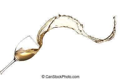 White wine splashing out of glass, isolated on white...