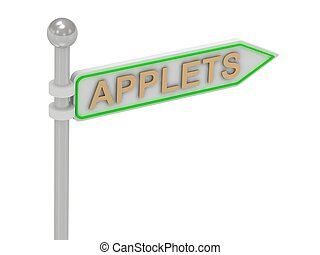 """3d rendering of sign with gold """"APPLETS"""""""