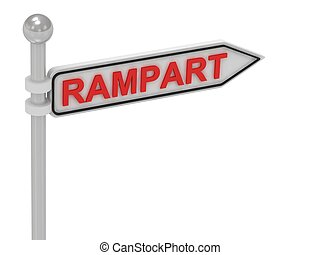 RAMPART arrow sign with letters on isolated white background