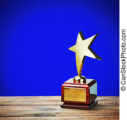 star award - star award with space for text on a blue...