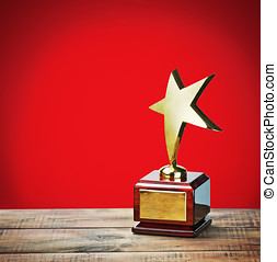 star award with space for text on a red background