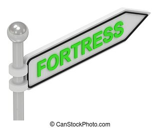 FORTRESS arrow sign with letters on isolated white...