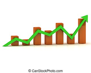 Business growth chart of the orange bars and the green arrow