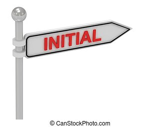 INITIAL arrow sign with letters on isolated white background