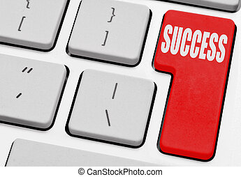 Success marked on a computer return key