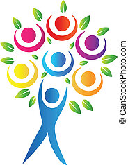 Abstract tree logo - Abstract tree teamwork logo