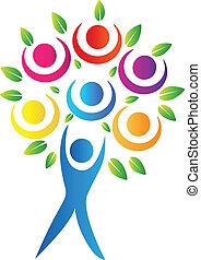 Abstract tree logo - Abstract tree teamwork logo