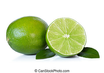 limes over white background