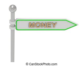 """3d rendering of sign with gold """"MONEY"""""""