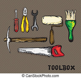Construction Icons ( screwdriver, wrench, brush, roller,...