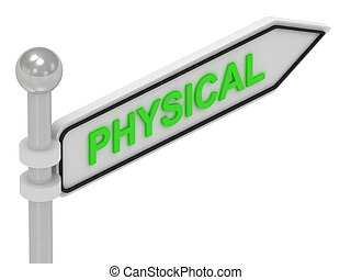 PHYSICAL arrow sign with letters on isolated white...