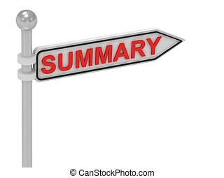 SUMMARY arrow sign with letters on isolated white background
