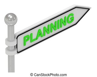 PLANNING arrow sign with letters on isolated white...
