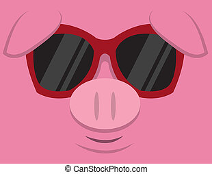 Cool Pig Sunglasses  - Cartoon pig head with sunglasses